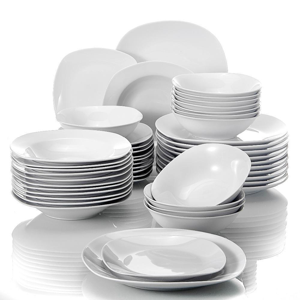 Malacasa ELISA 48 pièces Porcelaine Vaisselle Dîner Ensemble de céréales Bols de céréales Dîner Soupe dessert Associations Set Service pour 12 personne C0121