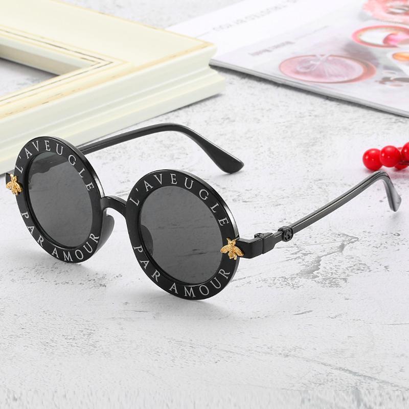 Enfants ronds horloge lunettes de soleil à la mode bee rivet décoration gradient enfant lunettes lunettes garçon fille unisexe rétro uv400 miroir goggle1