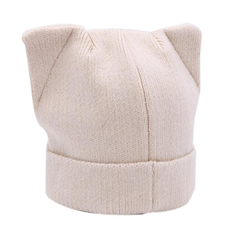 Orelhas de gato de malha chapéu mulheres espessadas de pé chapéu para queda / inverno ao ar livre curling quente