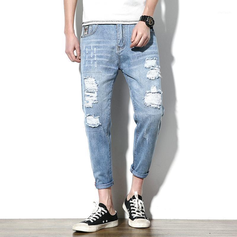 Talla grande Jeans sueltos Hombre Agujero Moda Tobillo Longitud Jeans Algodón de los hombres Slim Nuevo Slim Casual Tamaño 28-441