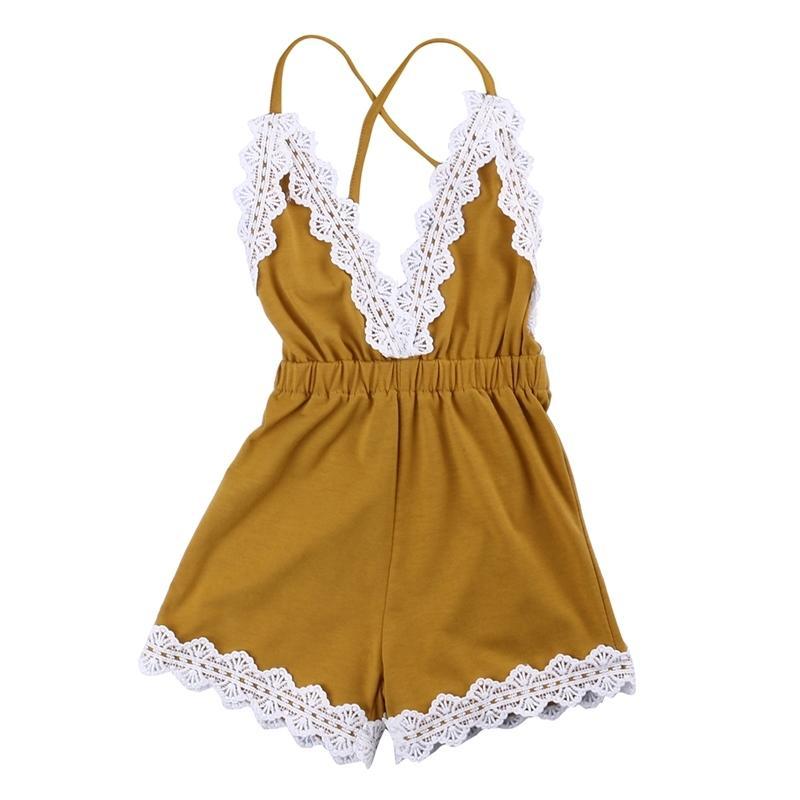 Recém-nascido adorável meninas infantis laço sem mangas romper v-pescoço sem costas saltunsuit roupas roupas sunsuit conjunto t200721