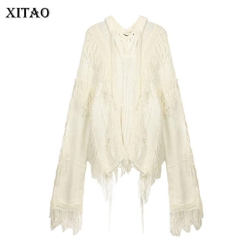 Donne Maglione Xitao lavorato a maglia di modo delle donne con coulisse 2020 Inverno manicotto pieno bianco Piccolo fresco minoranza casuale Maglione ZY1169