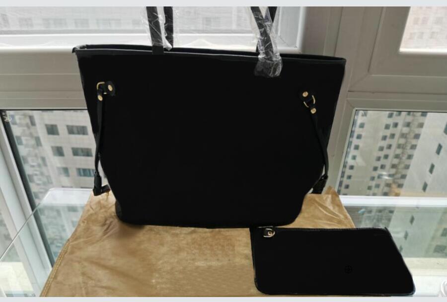 المرأة 2pcs / set لالأسود منقوش حقائب السيدات القديمة الطراز المركبة المحمولة PU الجلود حقيبة مخلب الإناث المحفظة