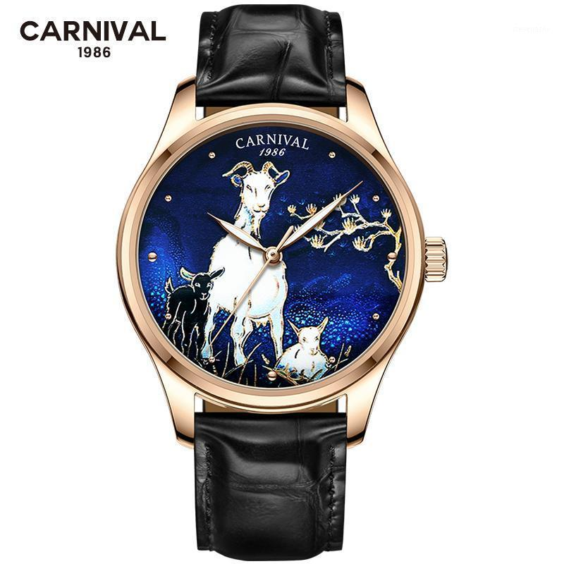 New 2020 Fashion Automatic Watch Men Carnival Zodiac Sheep Relief Mechanical Watches Leather Strap Wristwatches 1 order1