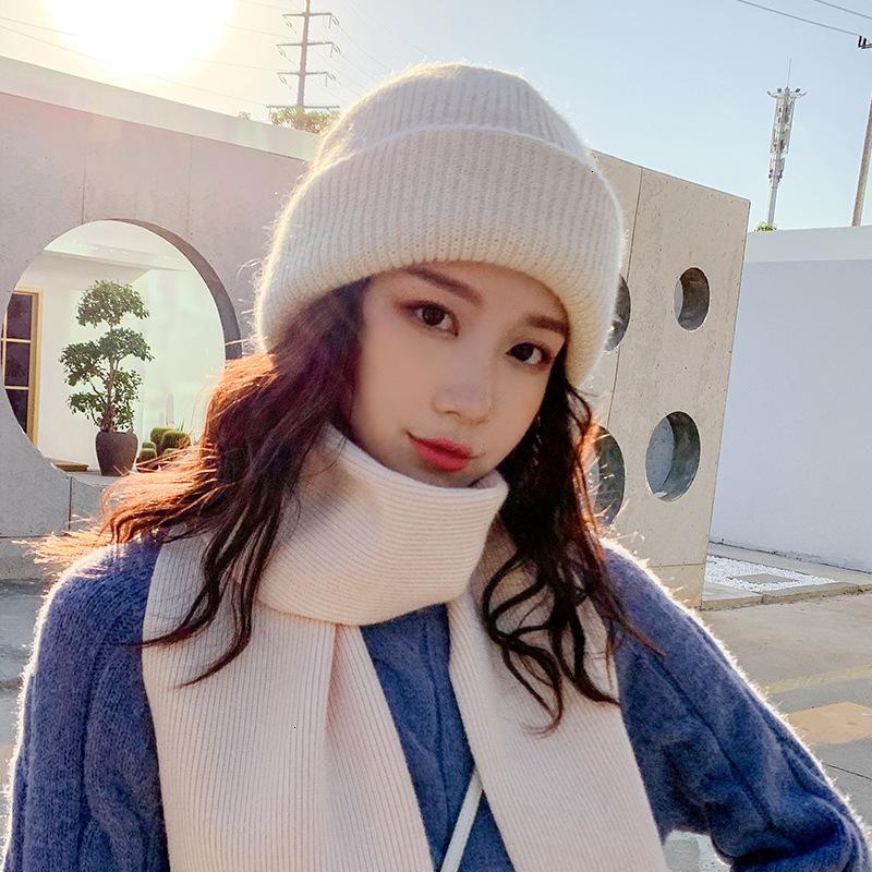 Розетка 2021 новая утолщенная ангора кролика волосы теплые шерсть женская осень корейский мода универсальная уха защита зима вязаная шапка