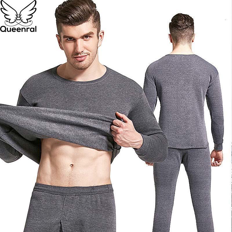 Queenral سميكة الحرارية الملابس الدافئة طويل جونز الحرارية الخريف الشتاء بالاضافة الى حجم M-4XL