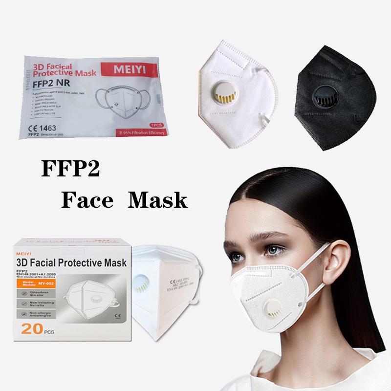 Máscara FFP2 con la válvula de respiración Certificación de la UE CE FFP2 MASKE 5-Capa Protección FFP2 MASCHERA Envío gratis
