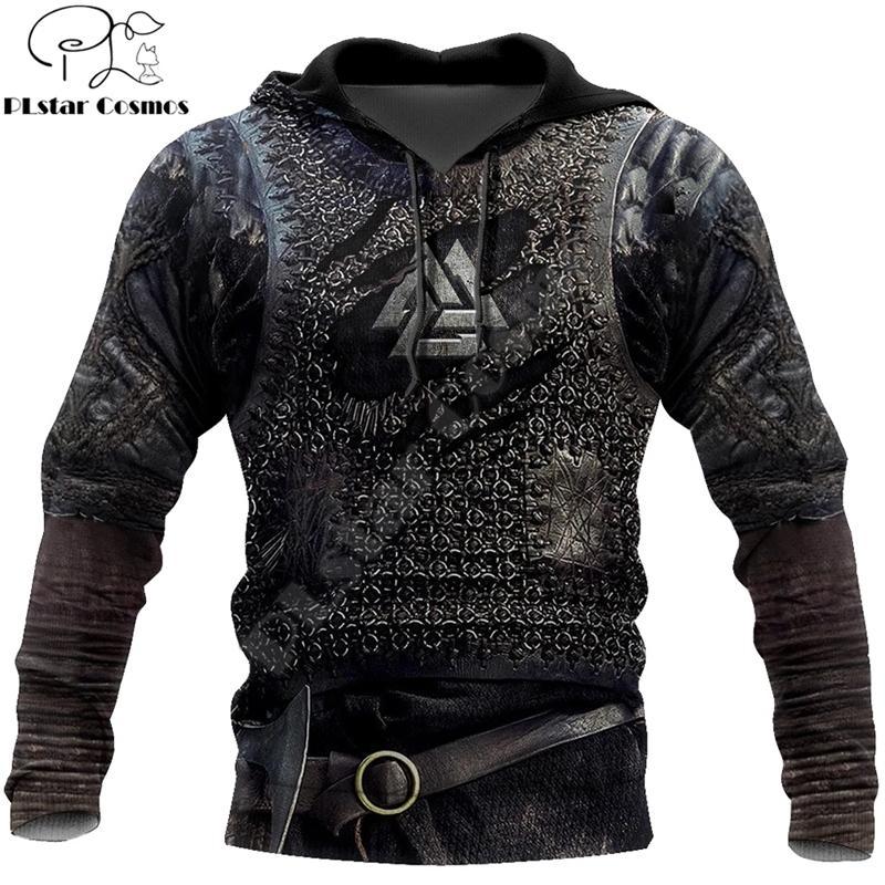 Viking Armor Tattoo 3D Printed Men hoodies Harajuku Fashion Sweatshirt Cosplay costume Unisex Casual jacket Zip Hoodie WJ003 201114