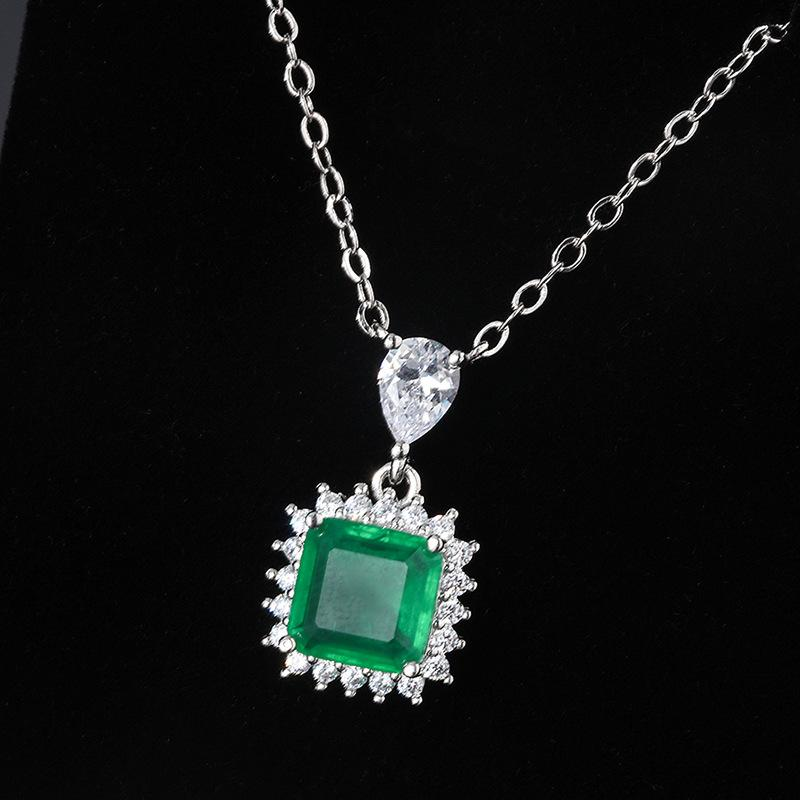 Aiyanishi Изумрудный кулон ожерелье для женщин Серебро 925 Ювелирные Изделия Зеленое драгоценное камень Ожерелье Годовщина Питание Ювелирные Изделия Подарки