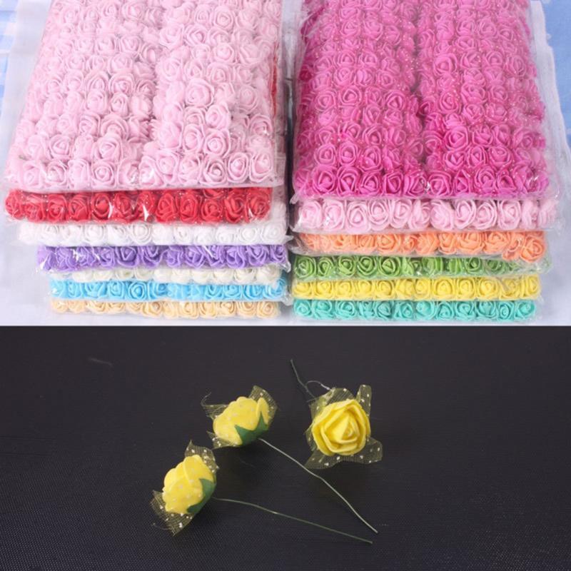 144 pcs 2,5cm mini espuma rosa buquê artificial buquê multicolor rosa de casamento decoração diy grinalda scrapbooking falso