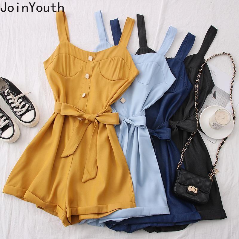JoinYouth 2020 Mulheres Jumpsuit Sólidos Bandage Holiday Fashion Bodysuits Bow-coreano Estilo Ropa roupas de verão Mujer cintura alta J980