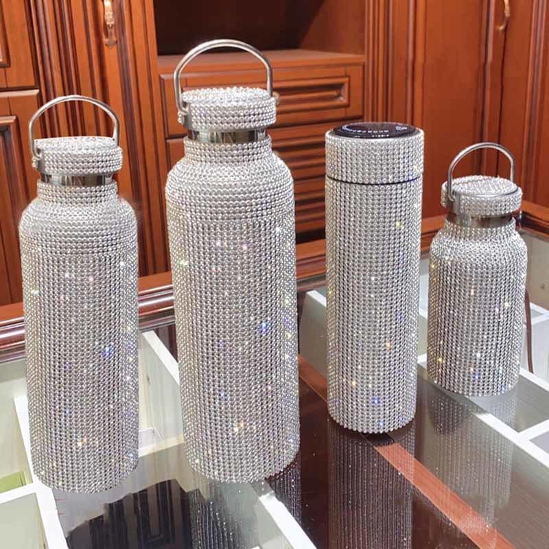 350ml / 500ml / 750ml Diamant thermos bouteille bouteille d'eau bouteille en acier inoxydable de bouteille de flacon de vide mousseuse THÈME THUMOCUP pour cadeau 201126