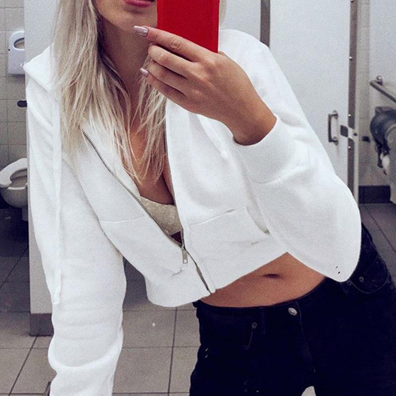 Sexy Zipper Hoodies Casual Solid Long Sleeve Pocket Shirt Hooded Short Tops Drawstring Sweatshirt Women Crop Jacket 201019