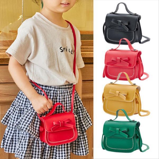 Okul Çantaları Moda Çocuk Çocuk Kız Bowknot Omuz Çantası Crossbody Sling PU Deri Cüzdan Çanta Messenger Çanta