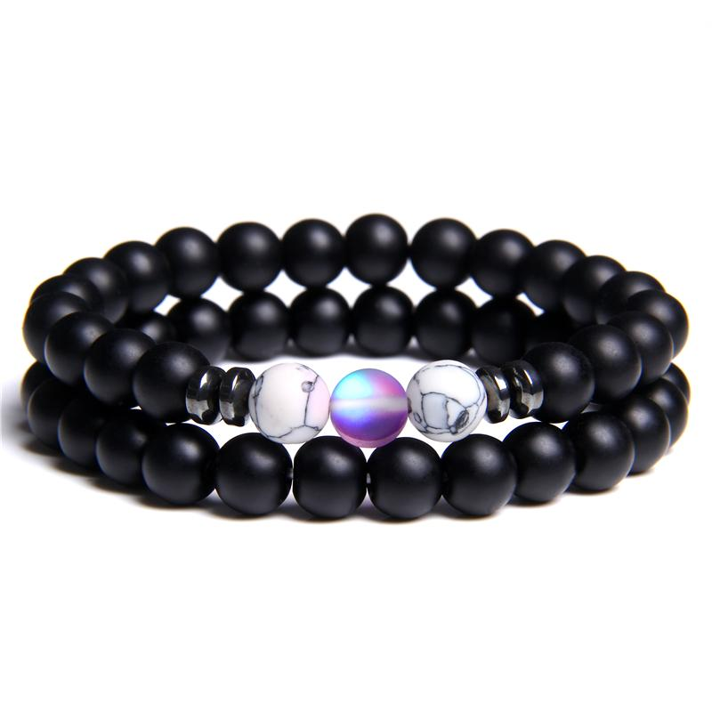 2 Pieces pulseiras casal Homens Matte Black Onyx Stone Beads Bangle Mulheres roxo brilhante Moonstone Charme Pulsera Friendship Bracelet