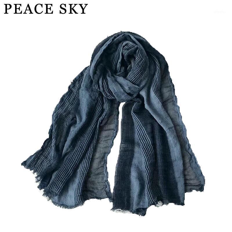 Шарфы 2021 Супербиг Японский стиль зимний шарф хлопчатобумажный и льняный полосатый клетчатый пузырь длинные женские шали моды мужские шарф1