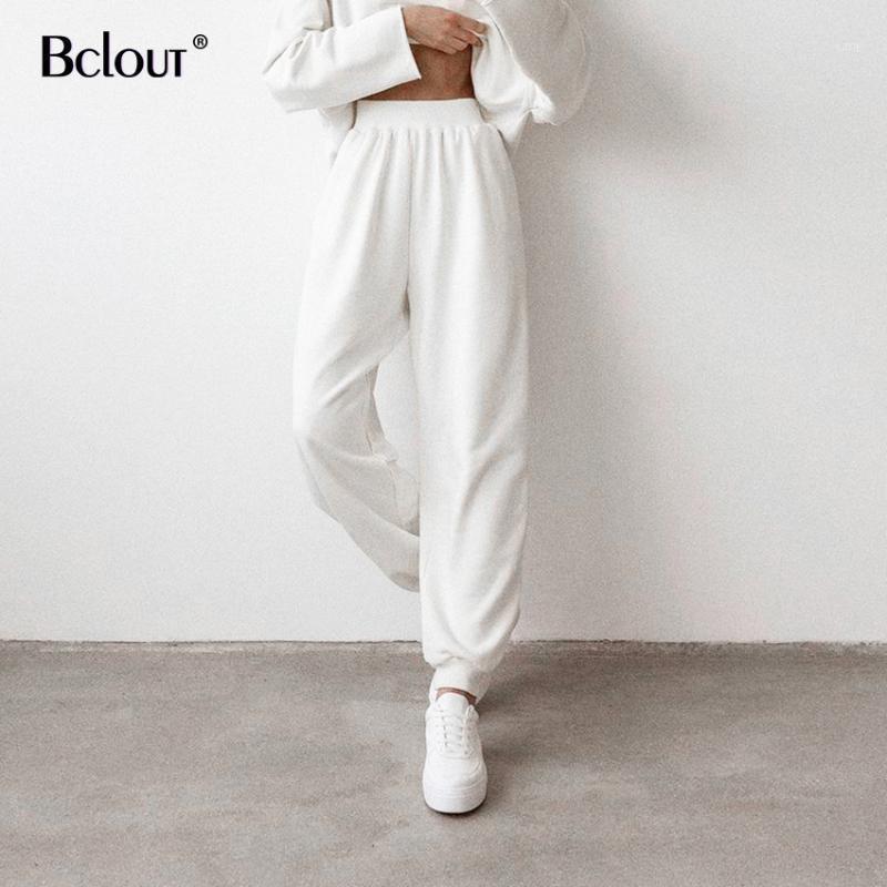 Женские брюки Cakris Bclout белый спорт длинные женщины эластичные талии гарема повседневные высокие брюки осень базовые joggers Streetwearth 20211