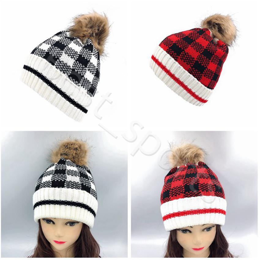 Natale donna Pom Pom Beanie caldo di inverno per adulti bambini lavorato a maglia Caps Sport esterni plaid di lana Cappello CYZ2861
