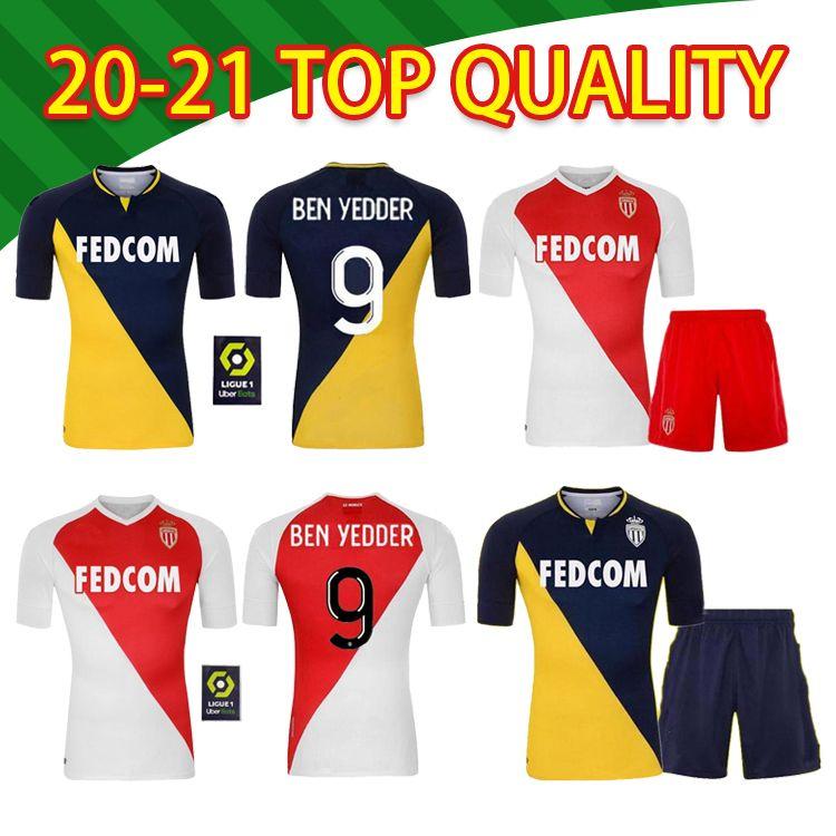 2020 2021 Top Quality Futebol Camisolas como Mônaco Ben Yedder Jovetic Golovin Flocagem Jorge Maillot de Pé Uniforme Adulto
