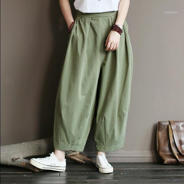 Женские брюки Capris Женщины осенью прямой хлопок эластичный талию брюк 2021 осень твердого цвета свободно повседневная во всю длину lj6981