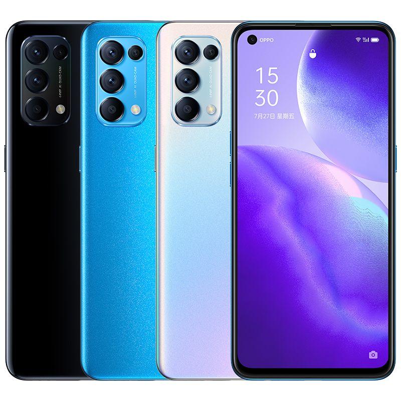 "Original Oppo Reno 5 5G Mobile Phone 12GB RAM 256GB ROM Snapdragon 765G Android 6.43"" Full Screen 64MP Face ID Fingerprint Smart Cell Phone"