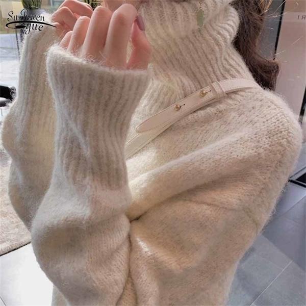 Vintage épais en vrac hiver doux Pull en maille Lazy Literary Pull Femmes Pull à col roulé Pulls Pull Femme 11646 solides Q1107