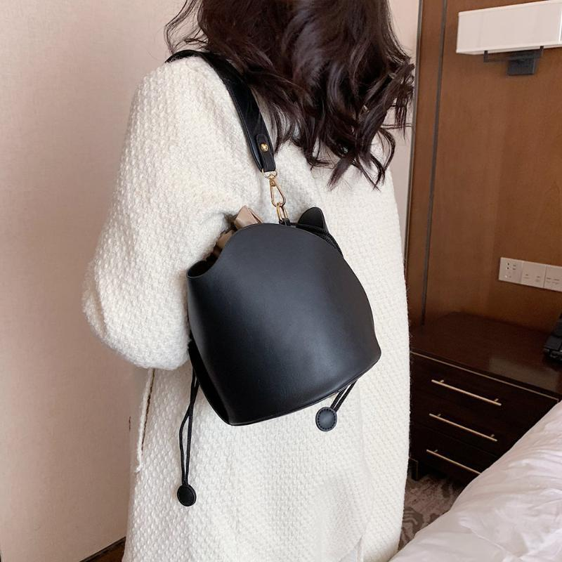 Твердые хаки ведро сумки сумки кожа новая мода коричневый цвет женской сумки PU плечо черный шнурок женские qdxeg