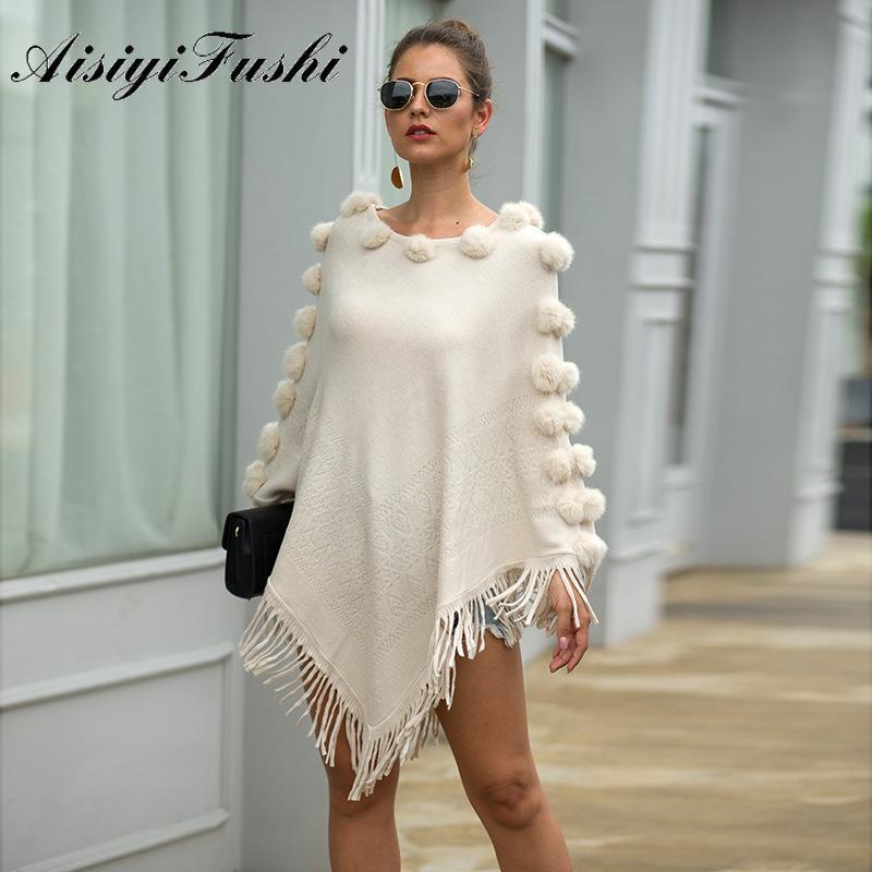Damenstricke T-T-Shilling-Mantel-Pullover-Schal-Outwear warme Quaste Hairball Frauen beiläufige lose Poncho-Kap-Mantel-Stricken