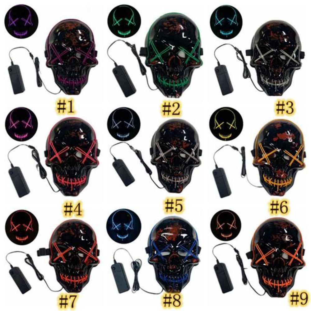 Lumière 10 Styles Masque Cool Masque Halloween Masque LED UP Purge Scary Scary Skull Skull Glows Masques pour adultes Kids Halloween Rave Party Scary Masques Ooabn