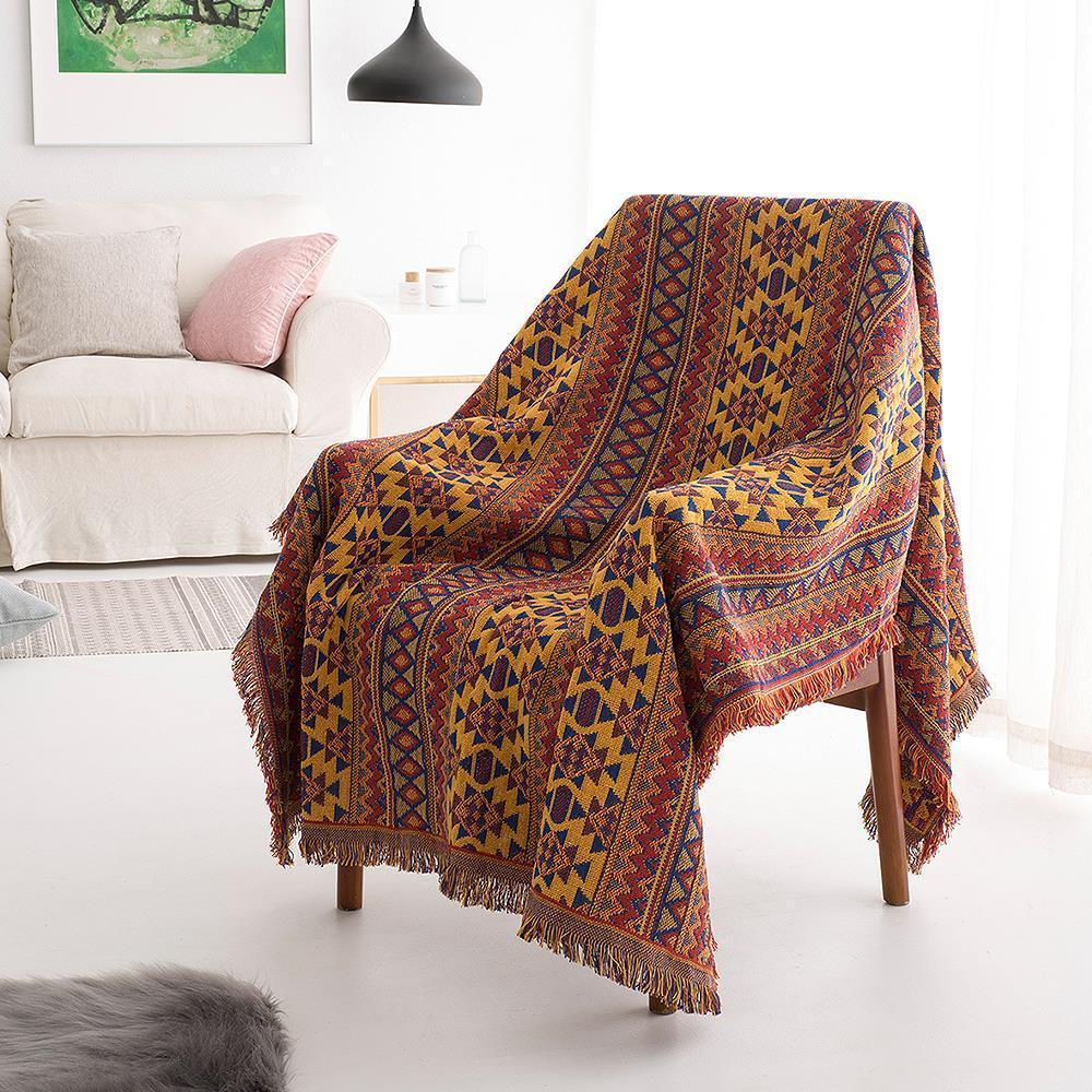 Bohemian Ciniglia asciugamani nappa coperta per Couch Fodera Divano decorativi Genera Plaid Stitching viaggio aereo Blanket
