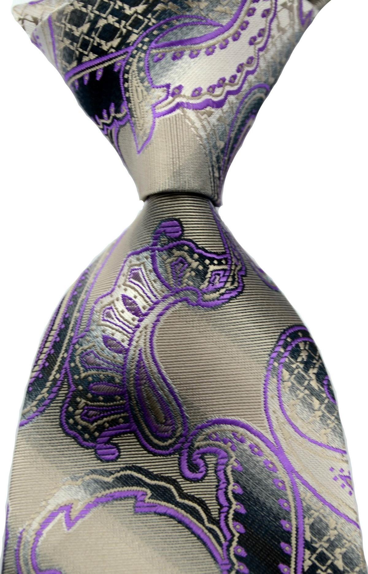새로운 고전적인 남자 넥타이 100 % 실크 페이즐리 패턴 회색 보라색 자카드 짠 실크 넥타이 CSW37