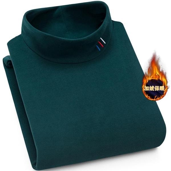 New Winter Casual Mens chaud épais chandail de qualité supérieure Pull shirt talonnage plus épais velours Demi-Col haut Pull 1114