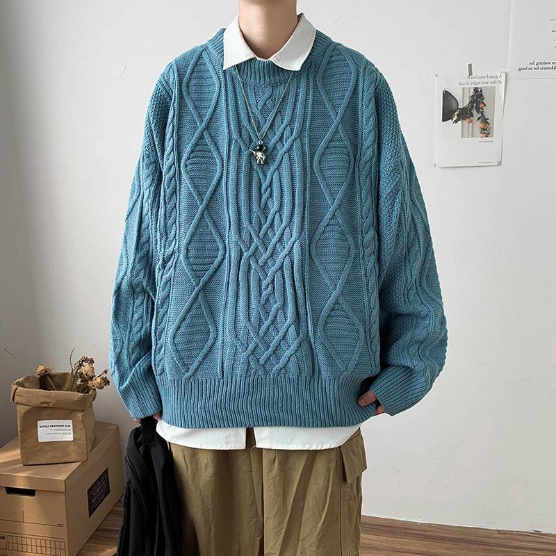 Sonbahar Erkek Triko Oversize Örme Kore Streetwear Artı boyutu Süveter erkekler Giyim Man Kazaklar Katı Kış Sıcak Giysiler