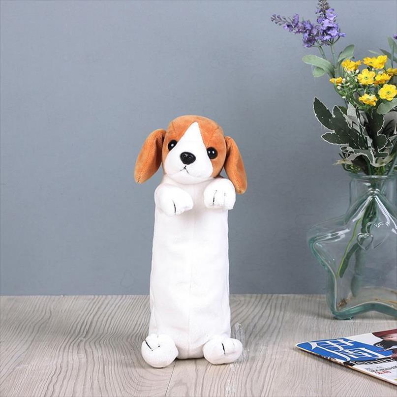 Jolies filles étudiants sac chien chien enfants boîte stylo dessin animé animaux papeterie enfants pour peluche kawaii garçons epqem