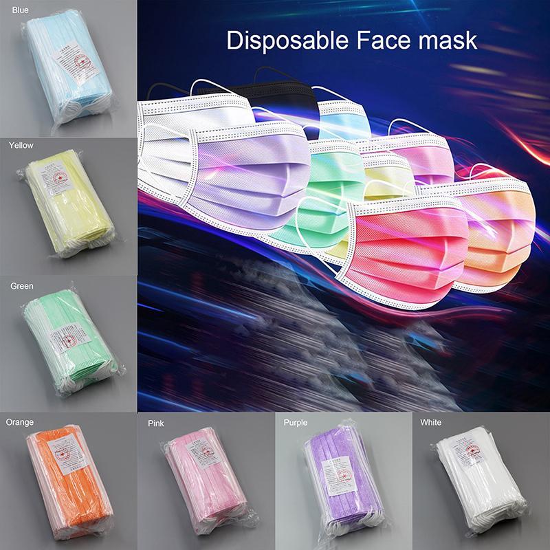 Бесплатная доставка 3-7 дней в США Маску одноразовых лиц с Elastic Ear Loop 3 слойных дышащей для блокировки пыль воздух для предотвращения загрязнения маски 2252