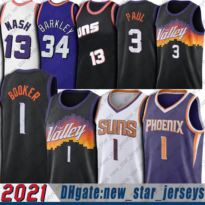 Devin 1 Booker Jersey Chris 3 Paul Formalar CP3 2021 Şehir Retro Steve 13 Nash Jersey Charles 34 Barkley Formalar Basketbol Üniforma