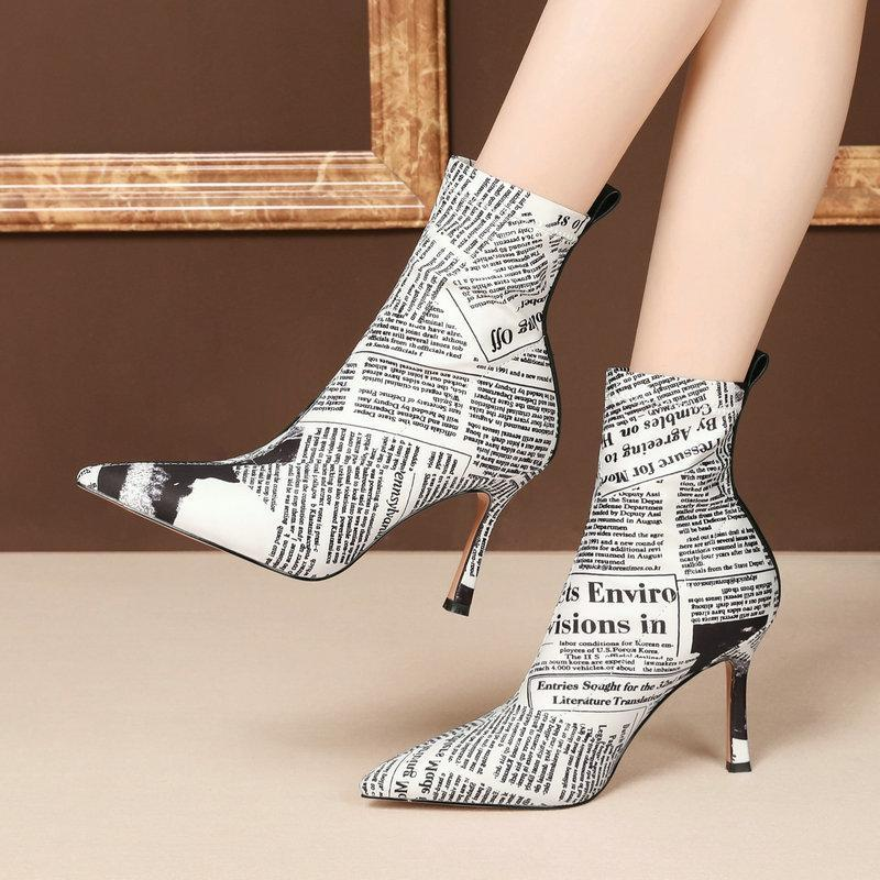 slim ladies Elastic socks boots high heels ankle boots women print stretch fabric pointed toe spring autumn party dress shoes