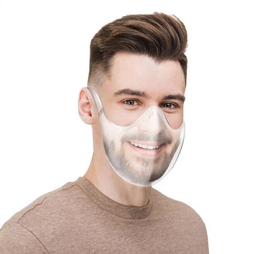 مسح الوجه درع بلاستيك شفاف الوجه قناع 2020 المعمرة الدراجات قناع قابلة لإعادة الاستخدام الفم غطاء مصمم أقنعة GGA3791