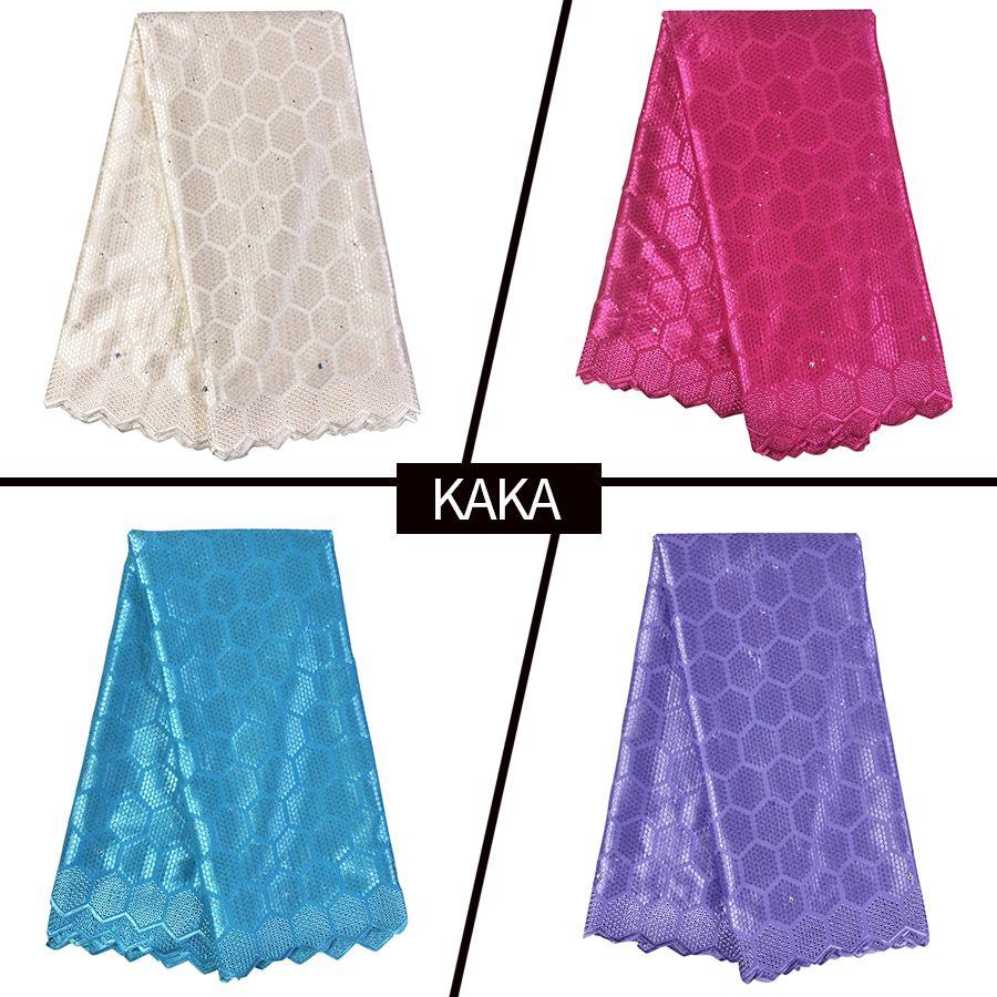 Tela de bordado de encaje de algodón africano Ankara Tela suiza de alta calidad Swiss Voile Diamante brillante Tela nigeriana para fiesta