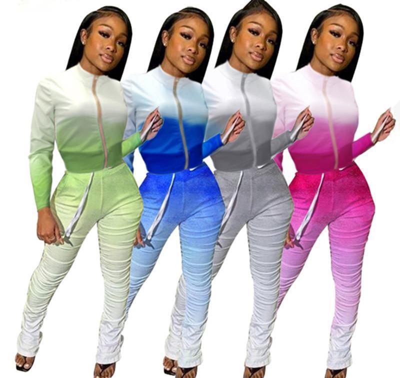 2 Piece Set Womens Outfits Sexy Calças Empilhadas Conjunto de Senhoras Moda Queda de Roupas Conjuntos De Correspondência Para As Mulheres Top Top e Pant