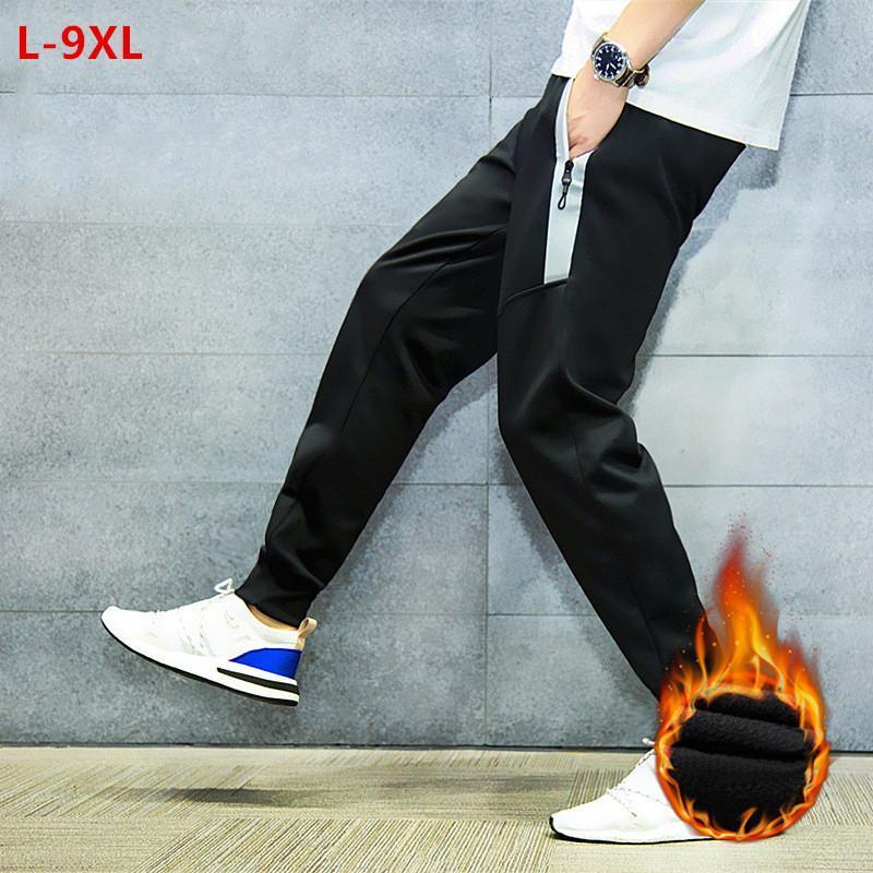 Deporte Joggers pantalones de los hombres pantalones deportivos Pantalones Harem Otoño Invierno Pista Hombre Negro Fleece suelta más 6XL 8XL 9XL Streetwear