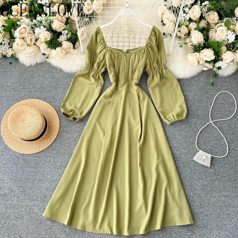 OceanLove Sloper Sleeve Vestidos Solido Coreano Vintage A-Line 2021 Primavera Femme Robes Square Collo quadrato Abiti donna elegante 19498