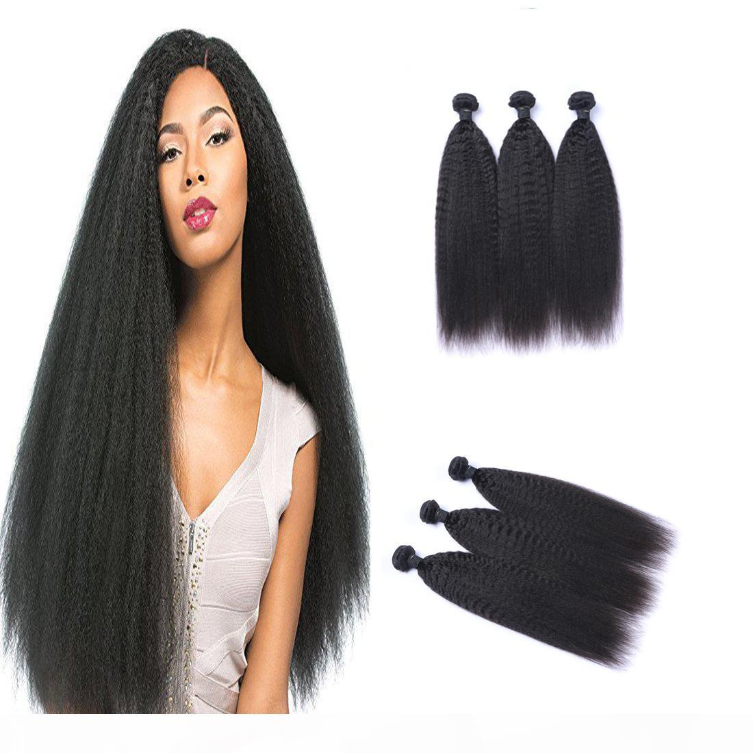 Malasia Kinky recta 100% sin procesar el cabello virgen humano tejido Remy Human Hair Extensions Human Hair Weages Dyable 3 Bundles