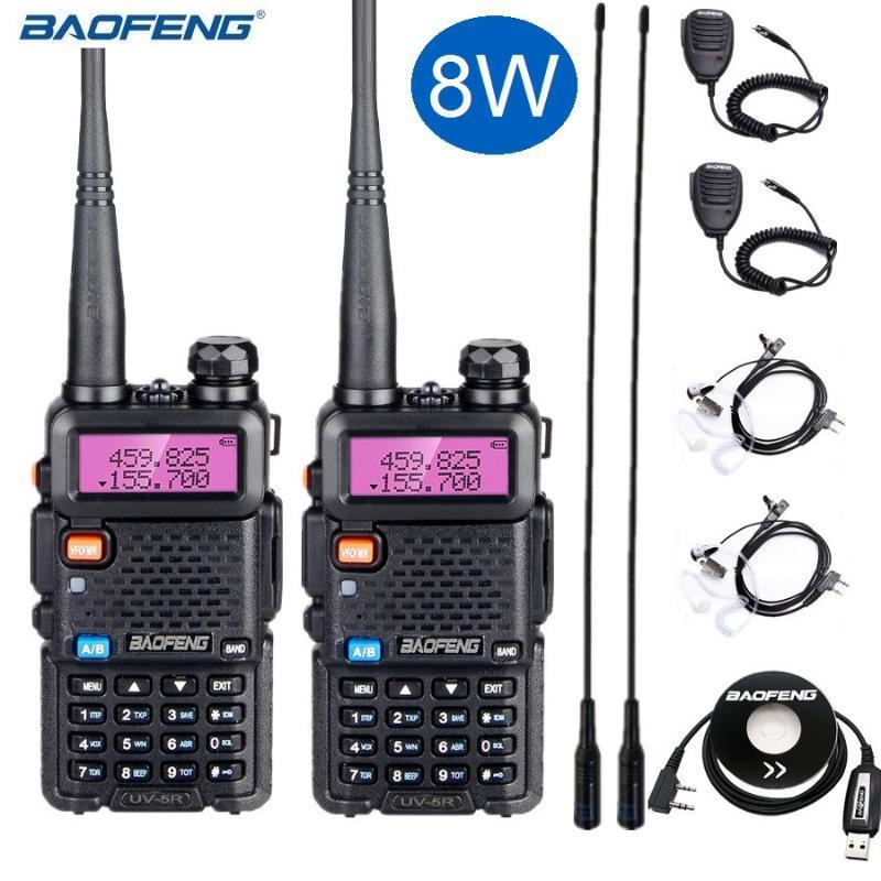 무전기 Talkie 2pcs Baofeng UV 5R 8W 강력한 UV5R VHF / UHF 햄 라디오 트랜시버 UV-5R 8 와트 CB 역 10km