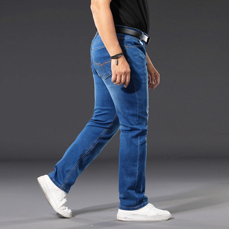 40 42 44 46 48 50 Large size Jeans klassische Tasche Modemarke gerade lose Business Casual Kleidung der Männer blaue Jeans