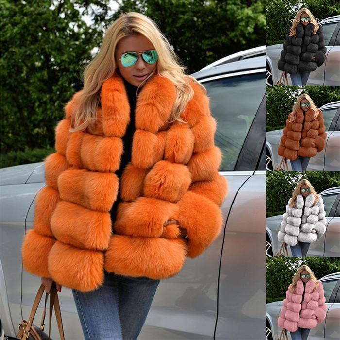 Faux Pelzmäntel OL Stil Winter Warme Oberbekleidung für Frau Lose Mode Lässige Jacken Plus Größe Womens