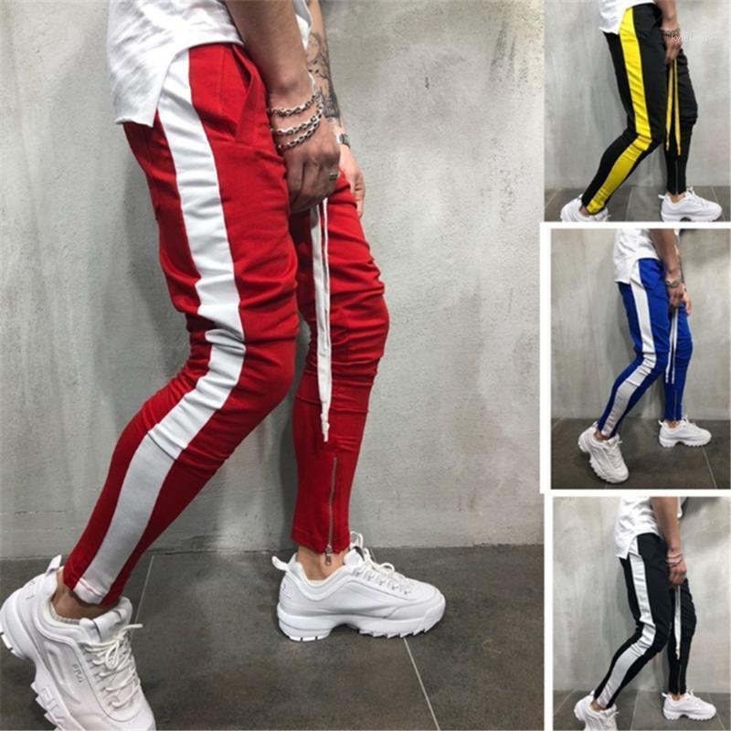 2020 Новая мода боковая полоса трек прогулка Jogger лодыжки брюки мужчины хип-хоп уличная одежда трек гарем брюки Homme случайные пробежки спортивный вузов1