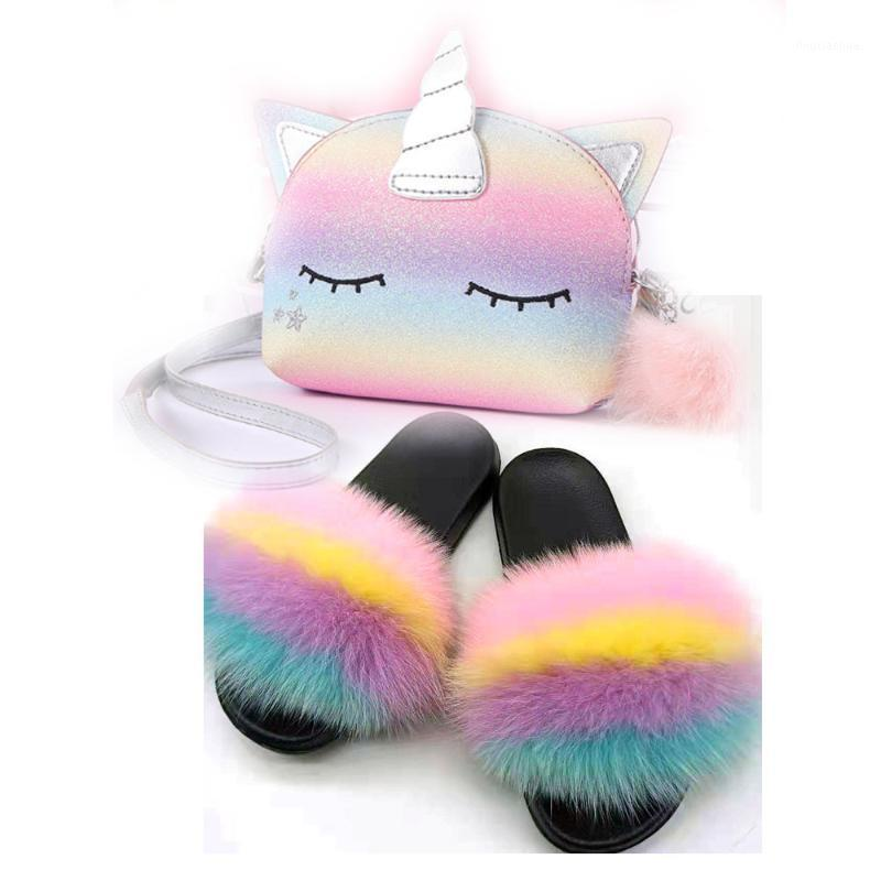 Zapatillas de la niña de Mudibear Diapositivas de pieles para niños y bolsos de bolsos Links Zapatillas Multicolor Hermoso lindo monedero conjunto cómodo1