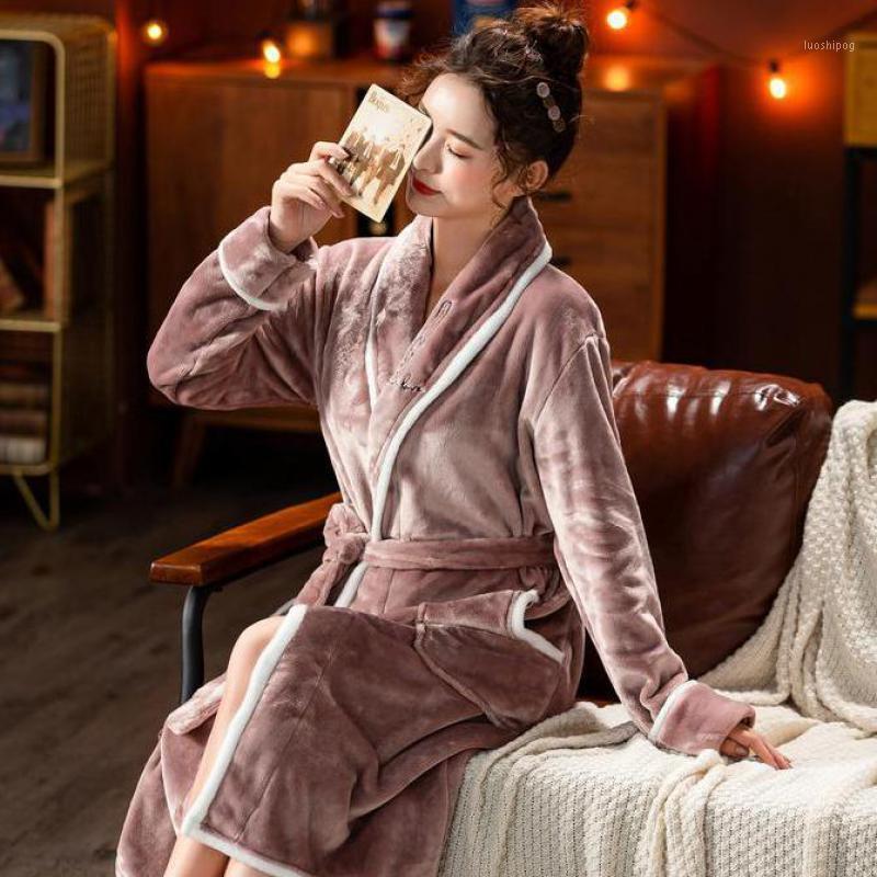 Kimono Robe Mulheres Flannel Sleepwear Inverno Novo Casa Roupas Intimate Lingerie Casual Kimono Bath Shown Nightwear com Pocket1