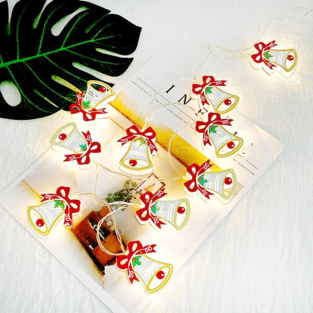 벨 10의 크리스마스 빛 10 LED 문자열 조명 배터리 전원 크리스마스 종소리 모양의 문자열 조명 크리스마스 새해 파티 결혼식